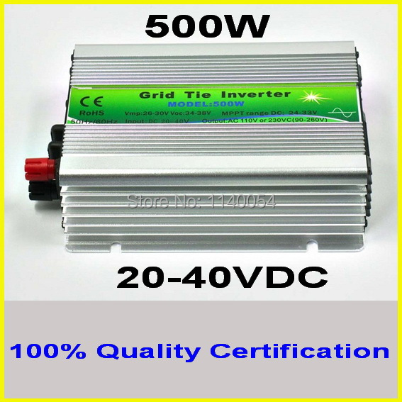 500W 20-40VDC Grid tie inverter for 24V 48cells or 30V 60cells PV Panel, 90-260VAC Full Voltage Output MPPT Solar Inverter 500W 500w micro grid tie inverter for solar home system mppt function grid tie power inverter 500w 22 60v
