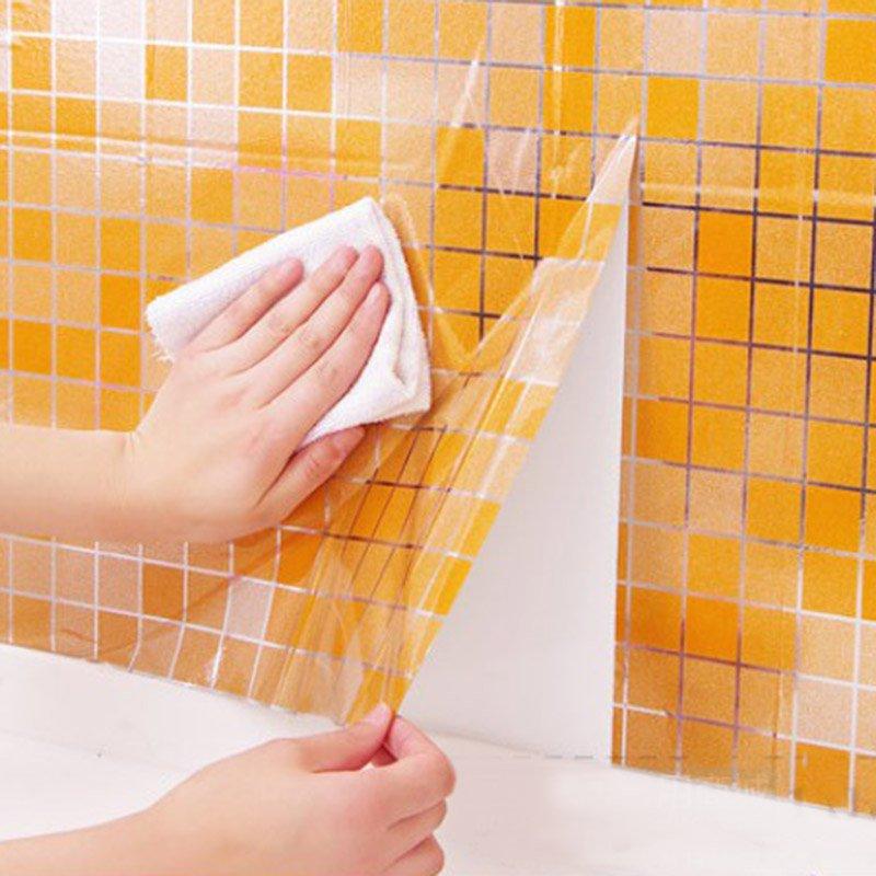 DIY Home Decor Waterproof Mosaic Aluminum Foil Self-adhensive Anti Oil Kitchen Wallpaper Heat Resistance Wall Sticker 45x200cm