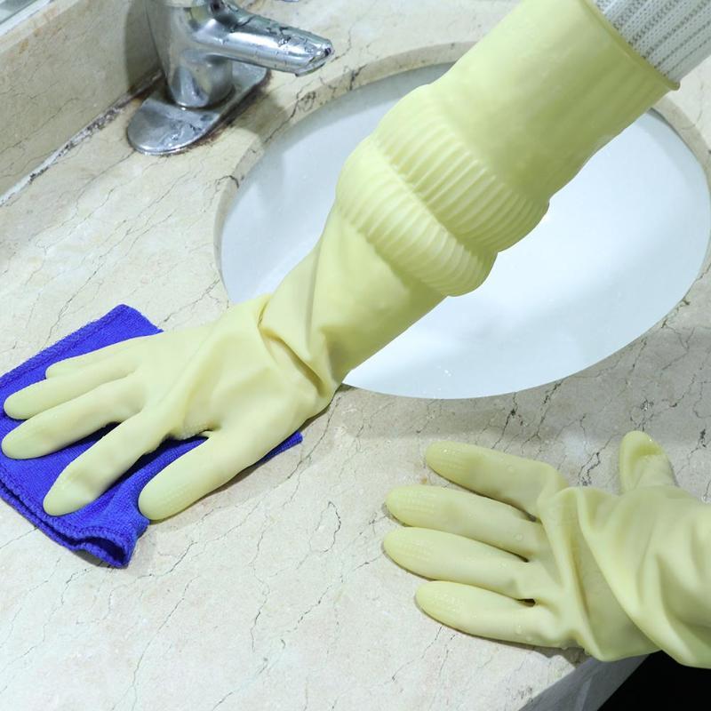 1 пара перчатки из натурального латекса кухонные перчатки для защиты посуды для уборки по дому водонепроницаемые повседневные перчатки с длинным рукавом качественные инструменты