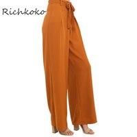 Richkoko Apparel Autumn Orange Empire Waist Wide Leg Pant Elegant Comfort Lace Up Trousers Loose Casual