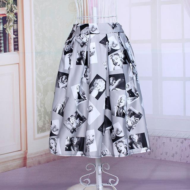 Nueva Saias Moda Para Mujer Vintage Estilo Del Verano Elástico de Cintura Alta Midi Falda Plisada Ocasional Señoras de Marilyn Monroe Impreso Faldas