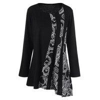 CharMma Autumn T Shirt Women T Shirt 2017 Fashion Asymmetric Loose Long Women T Shirts Long