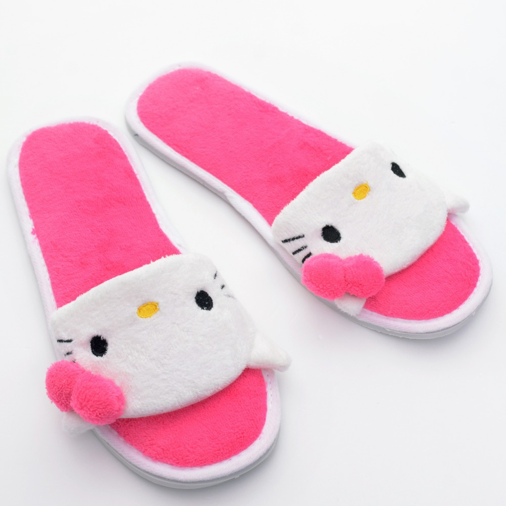8ffa42105 2Style Kawaii Plush Hello Kitty Slippers Anti skid Indoor Girls Women  loafers Slippers Indoor Moccasin Shoes for New Year #LN-in Slippers from  Shoes on ...