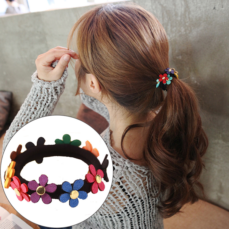 Women Sweet Colorful Flower Ponytail Holder Rope Elastic Hair Bands Elastic Hair Accessories