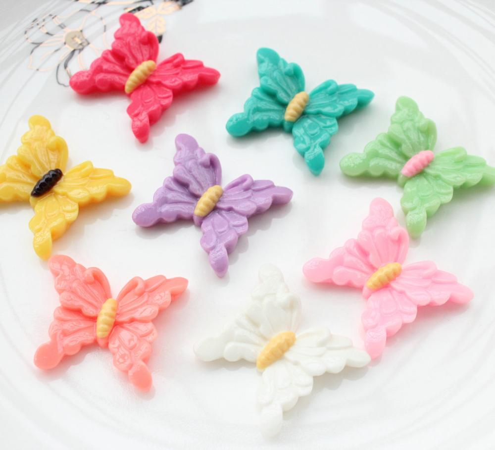 100pcs mix color large Resin Butterfly Cabochons,butterflies Flat Backs,Resin flatbacks, DIY Supplies, Decoden Resin cabs