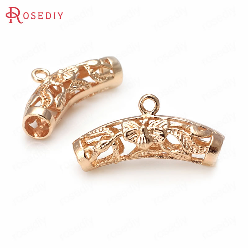 (31886)6PCS 25*7MM 24K Champagne Gold Color Brass Flower Curved Tube Charms Pendants Bracelet <font><b>Connector</b></font> Diy Jewelry Accessories image