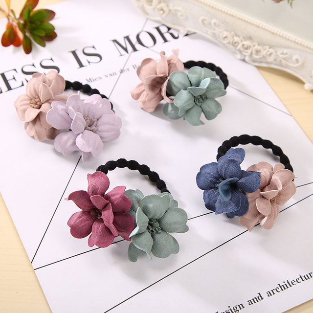 Elastic Hair Ring Flower Hair Rubber bands Rope Cloth Headbands Ties Hair Accessories for Women & Girls 4