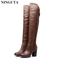Genuine leather over the knee boots high heels thigh high sexy women boots autumn boot 36 41
