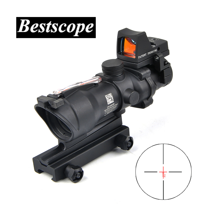 Tactical Trijicon Airsoft ACOG 4X32 Sight Scope Real Red Fiber Source Red Illuminated Rifle Scope w/ RMR Micro Red Dot tactical trijicon acog style 4x32 rifle scope and 1x docter red dot sight hunting shooting m2833 m7830