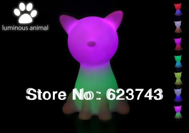 Free доставка Радуга Красочные Кошка СВЕТОДИОДНЫЕ лампы <font><b>night</b></font> light для детей, кошка Ночника Рождественский подарок, котенок кошка ночь светодиод&#8230;