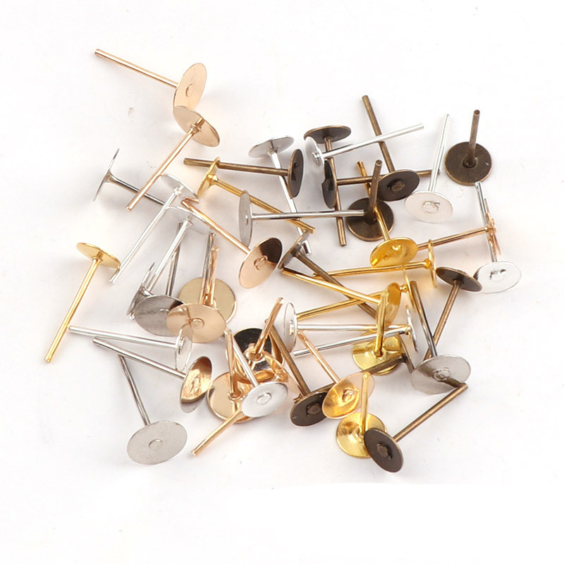 200pc/lot Nickel Free Ear Jewelry Stud Earring Posts Pins Base Settings Ear Flat Cup Pads fit 4/6/8/10mm DIY Cabochon Finding peruvian 13 4 ear to ear silk base frontal closure with bundles 3 4 lot kinky curl silk base lace frontal with bundles