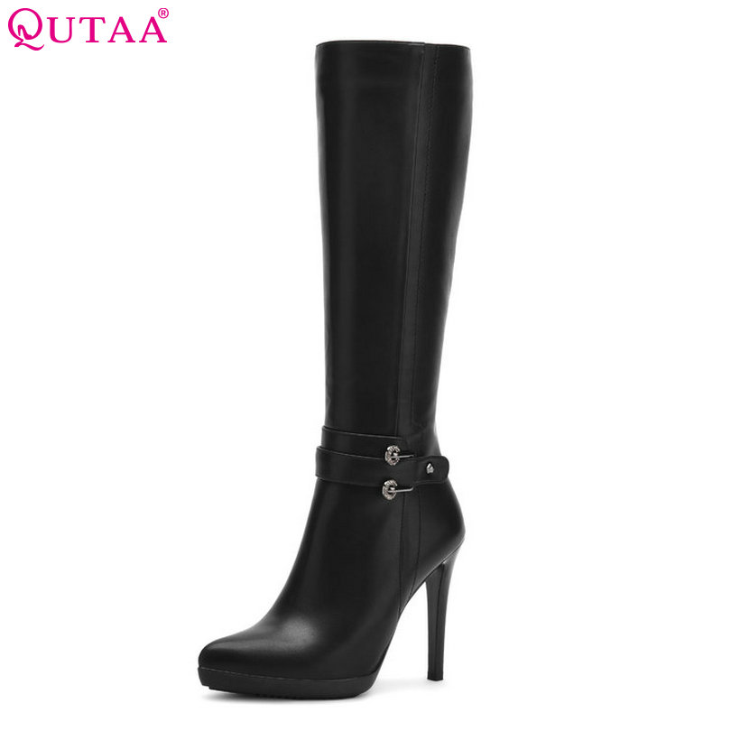 QUTAA 2018 Winter 2016 Knee High Boots PU leather Thin High Heel Pointed Toe Women Shoes Boots Black Sown Boots size 34-39