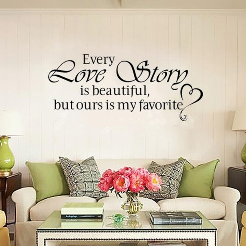 Online Shop Free Shipping Romantic Bedroom Sticker Every Love Story Is  Beautiful Vinyl Wall Decal Quote Stickers For Home Decoration | Aliexpress  Mobile Part 51
