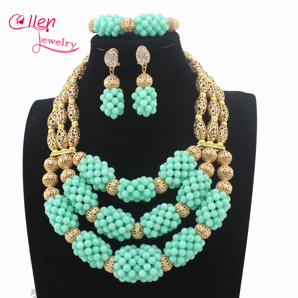 Surprising African Mint Green Beads Jewelry Set 3 Layers Statement Necklace Set Beads Jewelry Set Free Shipping W13682 mint green casual sleeveless hooded top