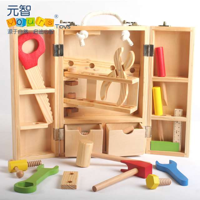 Wooden toy baby gift parent-child assemble repair play house game kid kindergarten educational hand work simulation tool 1 box  13pcs simulation vinyl dinosaur models hand puppet kids child educational development gift toy set
