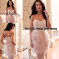 New Arrival Sexy Pink Sweetheart Pearl Beading Feather Short Cocktail Dress Women Free Shipping