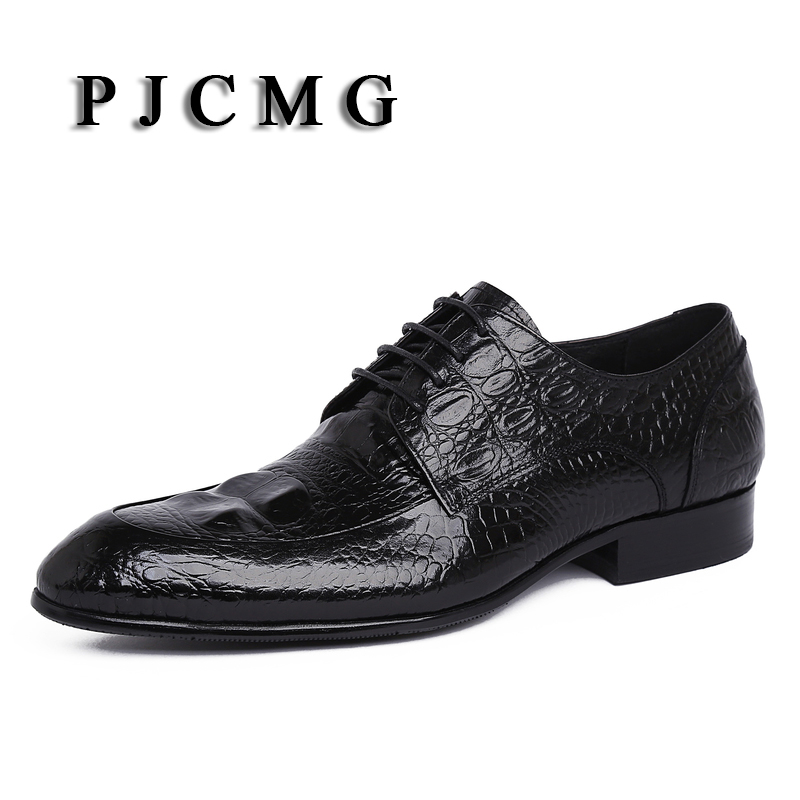 PJCMG Spring/Autumn Oxford Shoes Red/Black Mens Business Dress Genuine Leather Lace-Up Pointed Toe Mens Wedding Shoes top quality crocodile grain black oxfords mens dress shoes genuine leather business shoes mens formal wedding shoes