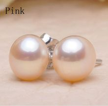 ASHIQI Real Natural Freshwater Pearl Stud earrings 925 Sterling silver earring pearls jewelry  for women
