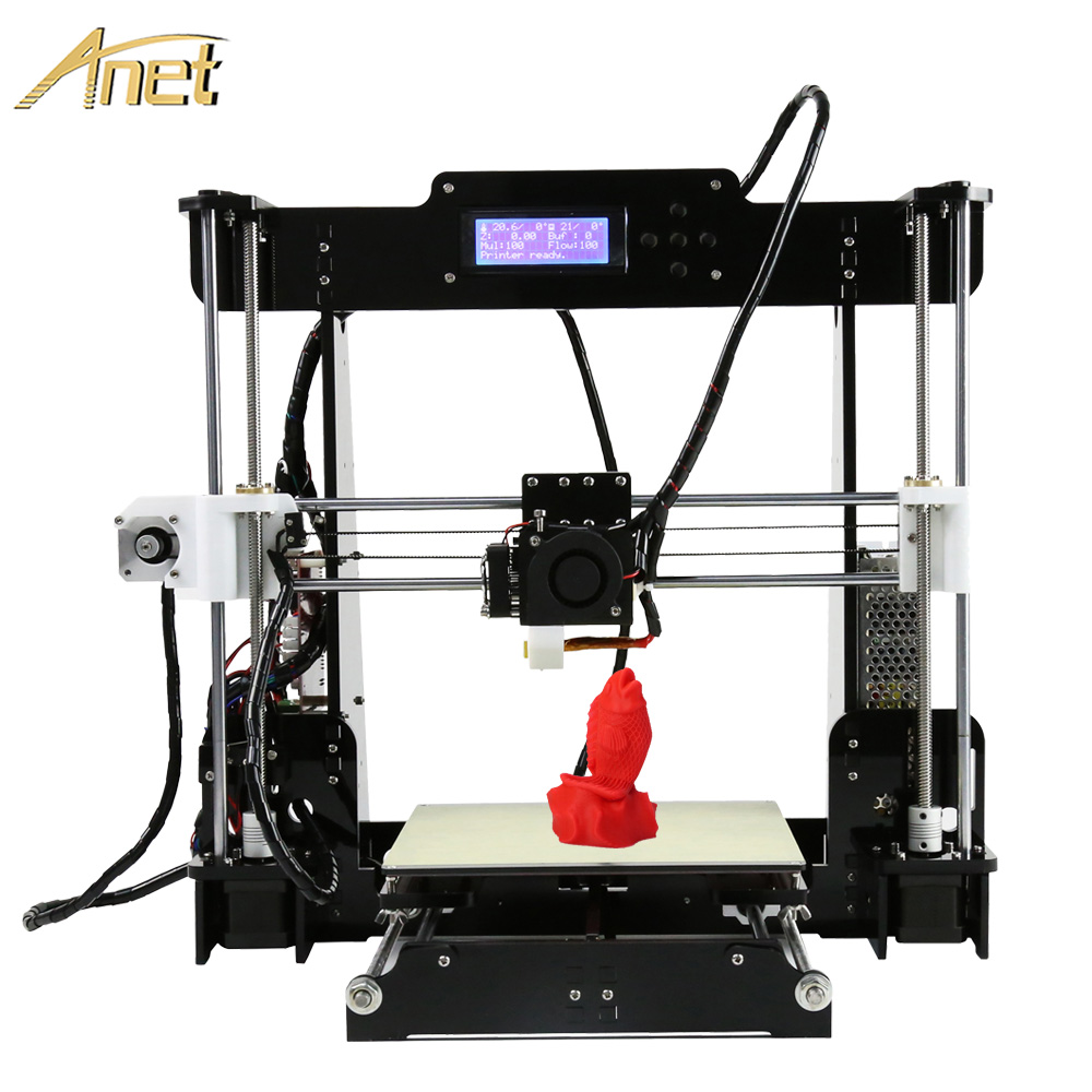Anet A6 A8 Auto leveling A8 3d printer Kit DIY Precision Reprap i3 3d printer impresora 3d with 10m filament+8GB SD Card LCD easy assemble anet a6 a8 impresora 3d printer kit auto leveling big size reprap i3 diy printers with hotbed filament sd card