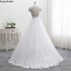 Ruby Bridal 2019 Elegant Vestido De Noiva Short Sleeve Ball Gown Wedding Dresses White Tulle Appliques Beaded Bridal Gown PW1902 2