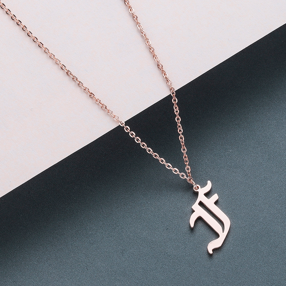 Todorova Old English Custom Capital Initial A-Z Letter Pendant Necklace Men Vintage Font Personalized Necklace Women Jewelry 17