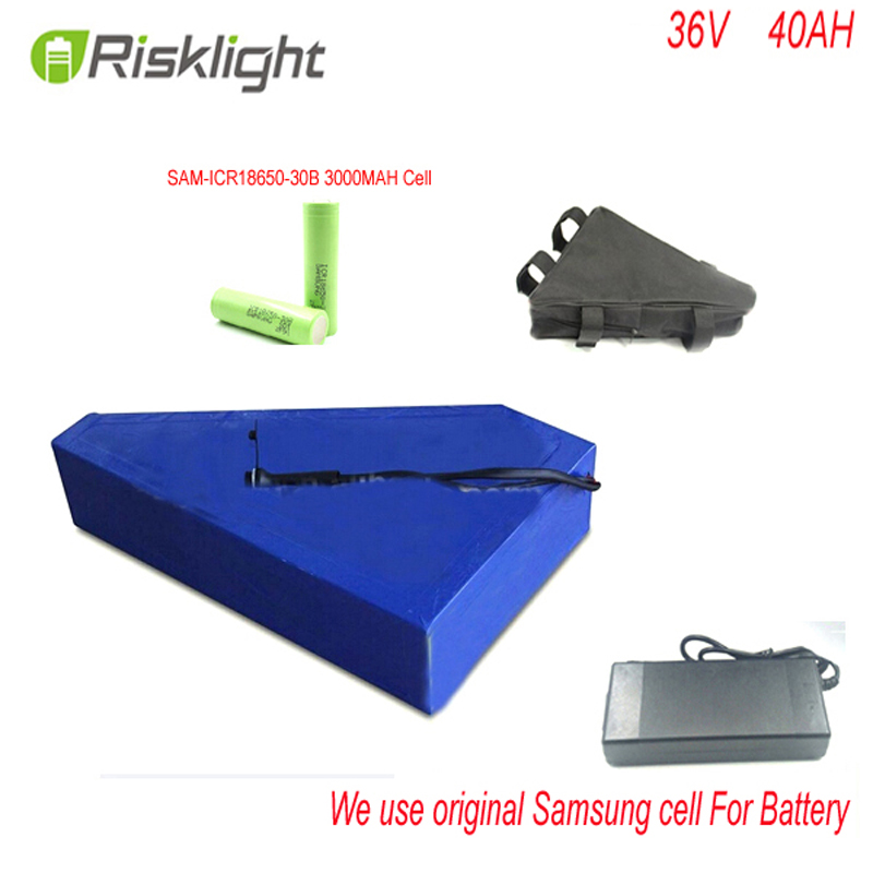 Triangle style battery 36V 40Ah Electric Bicycle Battery for 36v 1000w  bafang motor/engine kit with charger For Samsung Cell