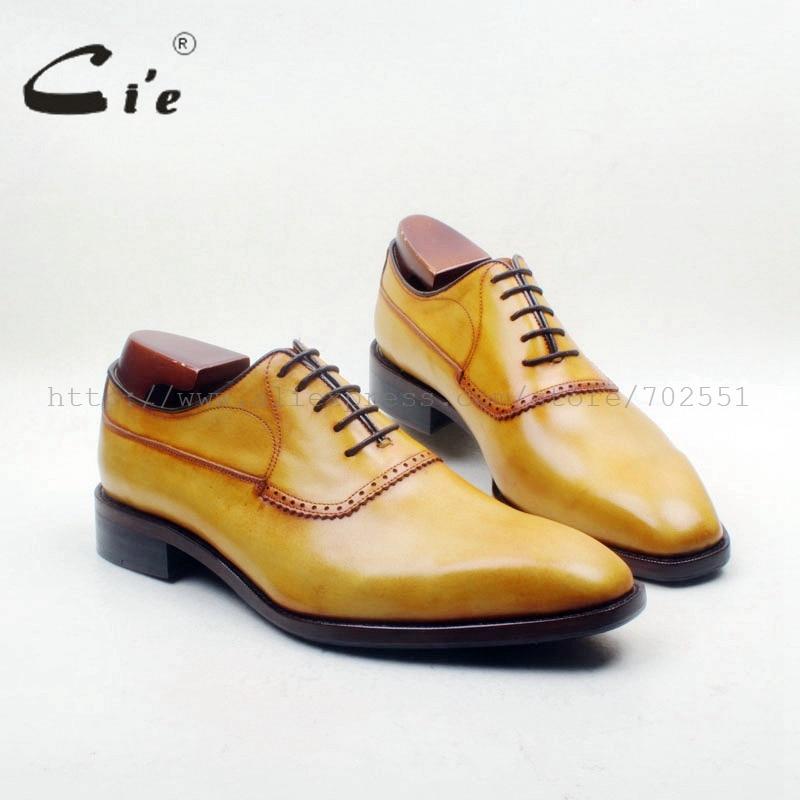 cie Square Plain Toe Custom Handmade 100% Genuine Calf Leather Outsole Breathable Men's Dress Oxford Yellow Brown shoe OX714-1 стоимость