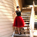 Envío Gratis Nueva Moda Rojo de Tulle de La Falda Midi Falda de La Boda partido de la Falda de Las Mujeres High Street Sexy Moda Falda Faldas de Tubo mujeres