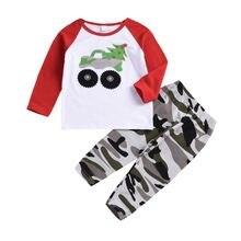 Комплект одежды для маленьких мальчиков футболка с принтом машины