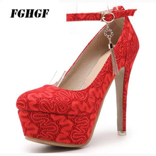Spring new one word buckle sexy ultra high heel waterproof platform thin bride shoe 33-48 size single