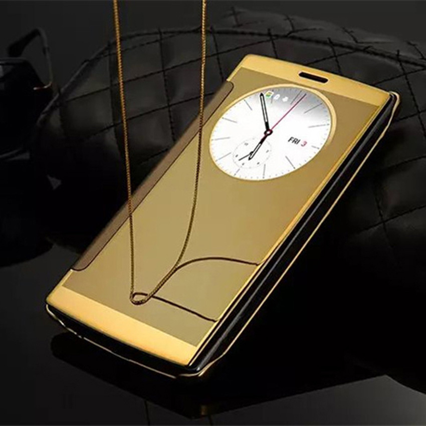 Asuwish Luxury Flip Cover Clear View Smart Case For LG G4 H818 H815 Slim Circle Auto Sleep Electroplating Hard Mirror Phone Case