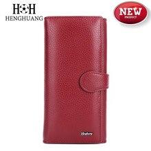 цены на HH 2019 Genuine Leather Women's Wallet Female Clutch Luxury Brand Cowhid Money Bag Zipper Coin Purse ID Card Holder Ladies Purse  в интернет-магазинах