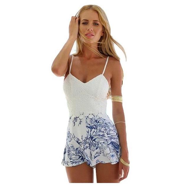 Plus Size 2016 Moda Macacão Mura Meadow Hills Boutique Verão Floral Lace Top Beachwear Sexy Halter Playsuit YEU