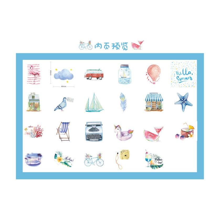 Купить с кэшбэком 46pcs/box Lovely Go To The Beach Decorative Stickers Diary Album Label Sticker DIY Scrapbooking Stationery Stickers