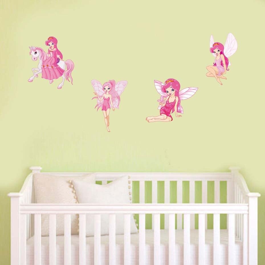 Pink Cartoon Fairy Girl Decals For Nursery Bedroom Decoration Vinyl ...