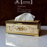 Boutique special European tissue boxes, gold white metal paper towels, napkins, paper boxes, hotels, home accessories