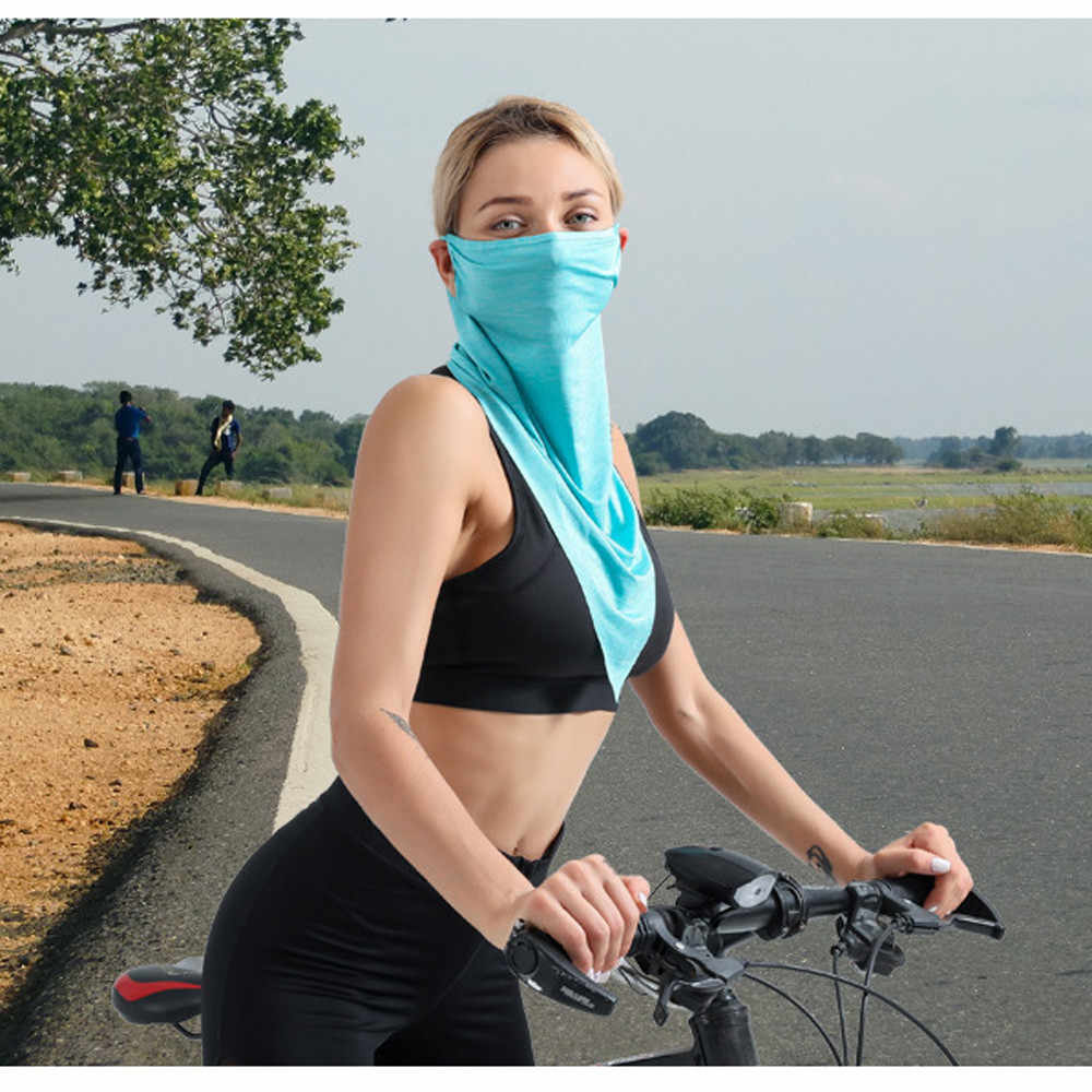 Windproof Cycling Face Mask Cycling Face Scarf Mask, Summer Ice Silk Headscarf Seamless Magic Triangle Bicycle Ski Mask