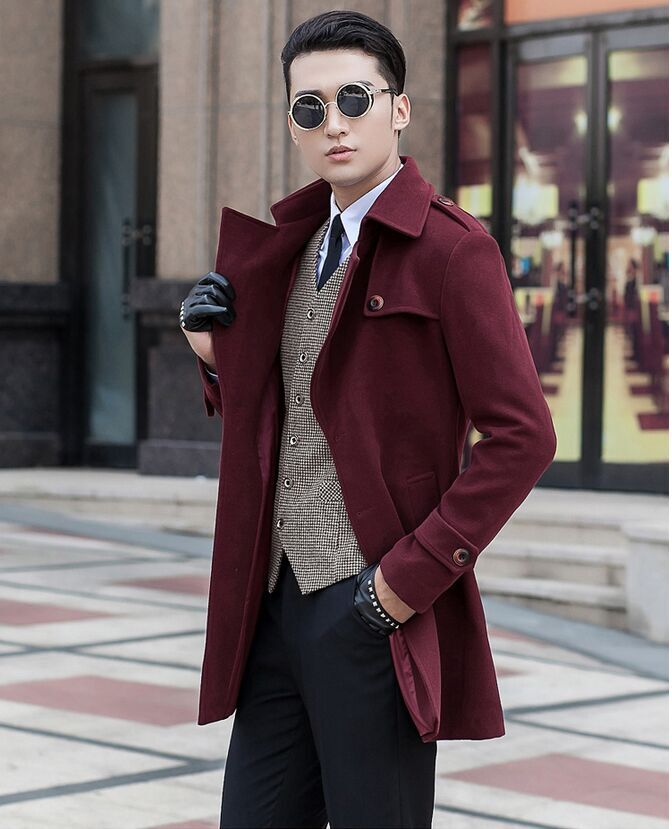 New Arrival Men's Obese Fashion Medium-long Woolen Overcoat Male Trench Plus Size S M L Xl 2xl 3xl 4xl 5xl 6xl 7xl 8xl 9xl