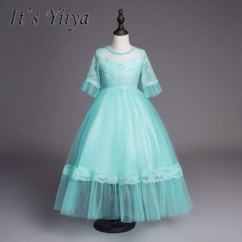 It's YiiYa   Flower     Girl     Dresses   5 Colors Half Sleeves O-Neck Floor Length   Girls   Pageant   Dresses   Vestidos De Noches Para Ninas 733