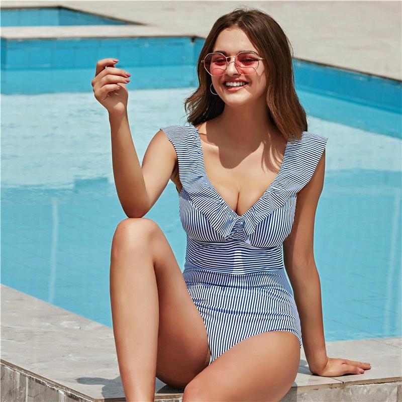 PLAVKY 2019 Sexy Female Retro V Neck Blue Striped Swimsuit One Piece Ruffled Push Up Padded High Waist Swimwear Women Monokini