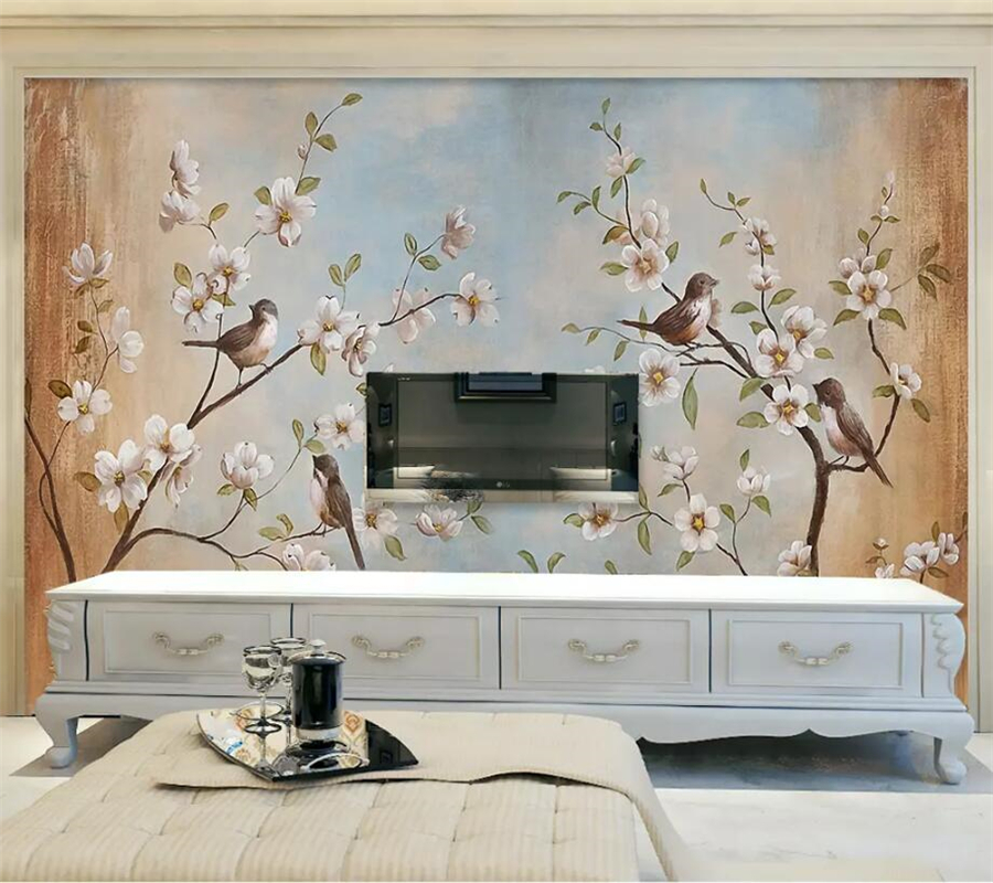 Beibehang Custom Photo Wallpaper 3d Mural Flower Bird Peach Oil
