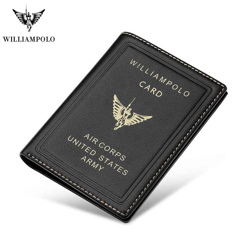 WilliamPOLO Brand Men Wallets 100% Genuine Leather Slim Bifold Credit Card Holder Male Pocket Purse Male Clutch Mini Wallet