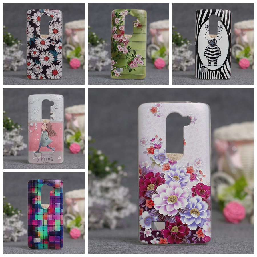 Luxury 3D Style Cartoon Flower Back Cover Soft TPU Case for LG LEON 4G LTE C40 H340N H320 C50 H324 Back Cover Slim Silicone Case