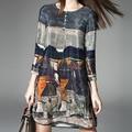 Лето новой женской Европейских и Американских бренда семь точка рукава круглый шелкография шелковый dress слово dress