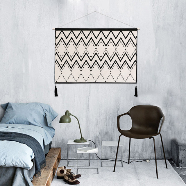 Creativo Tapiz Nordico Simple Moderno Diseno Rayas Pared Rectangular - Tapices-de-pared-modernos