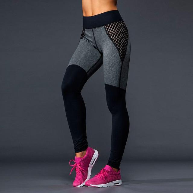 Плюс Размер Черный/Серый женщин Фитнес Леггинсы Тренировки Брюки Панелями Дамы Высокой Талией Леггинсы быстросохнущие Одежда брюки