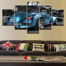 Modern Canvas Paintings Wall Art Pictures 5 Pieces Home Decor Kids Room Beetle Blue Car Figure HD Print Flashy Posters