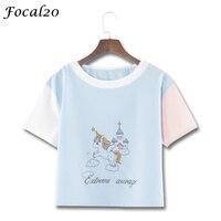 Focal20 Cute Cartoon Unicorn Print Women Crop Top T Shirt Summer Short Sleeve Stitching Color Cropped