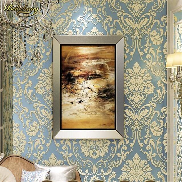 € 28.63 35% de réduction|Beibehang papier peint 3d papier peint fleur  royale damassé chambre vintage fond non tissé papier peint pour salon mural  ...