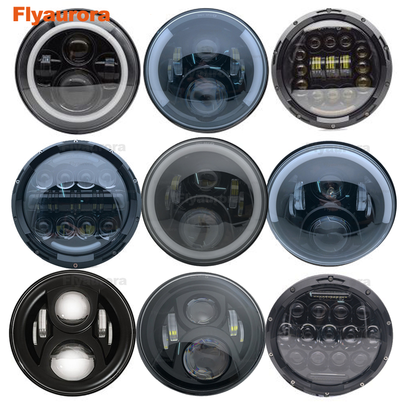 Flyaurora 7inch LED Headlight DRL Angle Eye Hi Low Turn Signal Driving Light Led Headlamp 12V for Jeep Wrangler Lada Niva image